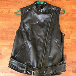 Faux black leather biker vest with studs